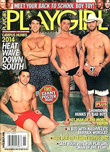 """Playgirl Magazine #69 (Fall 2014) CAMPUS HUNKS * DERRICK WORSLEY * BACK TO SCHOOL BOY TOY * SHOWDOWN-HUNKS vs BAD BOYS * MAN OF THE MONTH """"AARON"""" * PICK YOUR MEN OF THE YEAR"""