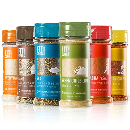 The Fit Cook Spice and Seasoning Set: Gluten & Grain Free, Vegan & Keto Friendly Spice Kit - 6 Health-conscious Hand-Crafted Seasoning Gift Set for Men & Dads - Perfect for Grilling, BBQ, and Foodies