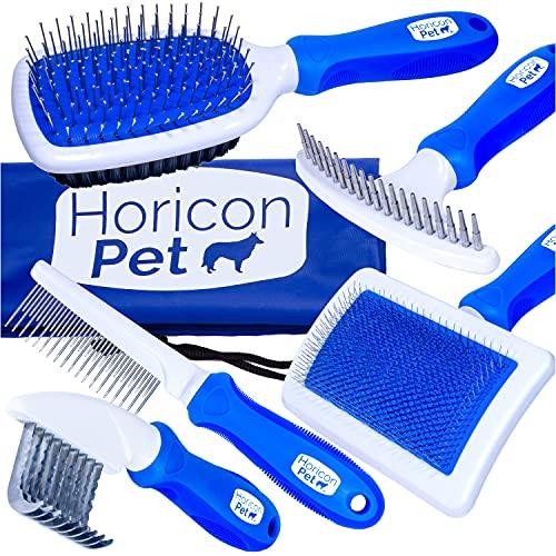 Horicon Pet 6 In 1 Premium Dog Brush Set - Dog Grooming Brushes - Ball Pin & Bristle Brush, Curved...