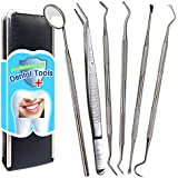 Dental Tools, 6 Pack Dental Pick Stainless Steel Teeth Cleaning Tool Dental Hygiene kit Tooth Scraper Plaque Tartar Remover Tweezers for Dentist, Oral Care & Pet Use with Leather Case