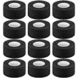 Pangda 12 Pieces Adhesive Bandage Wrap Stretch Self-Adherent Tape for Sports, Wrist, Ankle, 5 Yards Each (1 Inch, Black)