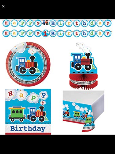 Olive Occasions All Aboard! Train Themed Happy Birthday Party Supplies 16 Cake Plates, 16 Lunch Napkins, Banner, Table Cover, Centerpiece, Grandma Olive's Recipe