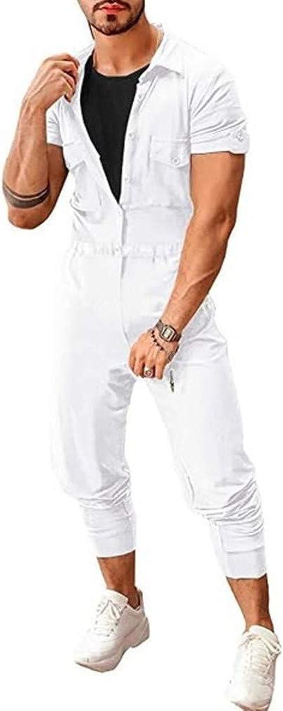 Yying Mono Jumpsuit para Hombre Manga Corta Collar De Pie Suelto Jumpsuits Pantalones Larga con Bolsillos El Bot/ón Cintura El/ástica Calle La Moda Playsuits Monos M-2XL