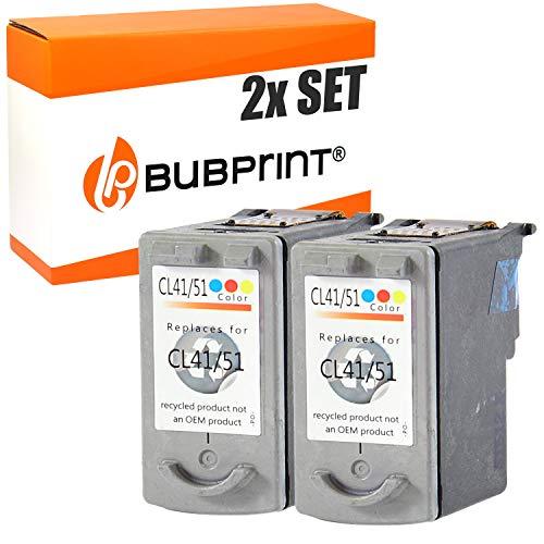 2 Bubprint Druckerpatronen kompatibel für Canon CL-41 für Pixma IP1600 IP1700 IP2200 IP2500 IP2600 MP140 MP150 MP160 MP170 MP180 MP190 MP210 MP220 MP450 MP450X MP460 MX300 Color