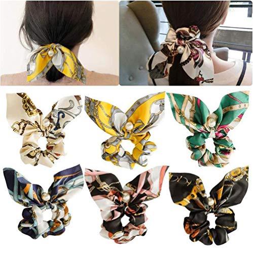 ericotry Lot de 6 chouchous élastiques à cheveux en mousseline de soie et perles - Motif floral - Couleurs assorties - Pour femme et fille
