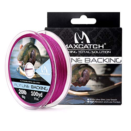Maxcatch Braided Fly Line Backing for Fly Fishing 20/30lb(White, Yellow, Orange, Black&White, Black&Yellow) (Purple, 20lb,100yards)