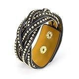 MANUMAR Damen Wickelarmband mit Gold-Nieten und geflochtenem Design | PU-Lederarmband mit Goldnieten | Druckknopf-Verschluss und Glitzer-Applikationen