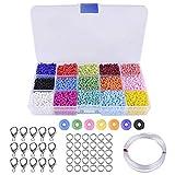 SODIAL Alrededor De 9000 Pcs Cuentas De Colores 3 mm Perlas De Vidrio para Hacer Joyas De Pulseras Collares Regalo para Ni?Os