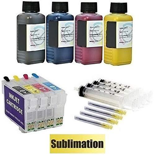 Wiederbefüllbare Quickfill - Fill-in - Easy Refill Patronen mit Auto-Reset-Chips wie T1631 T1632 T1633 T1634 + 400 ml Sublimationstinte für Workforce WF-2010 W, -2510 WF, -2520 NF, -2530 WF, -2540 WF