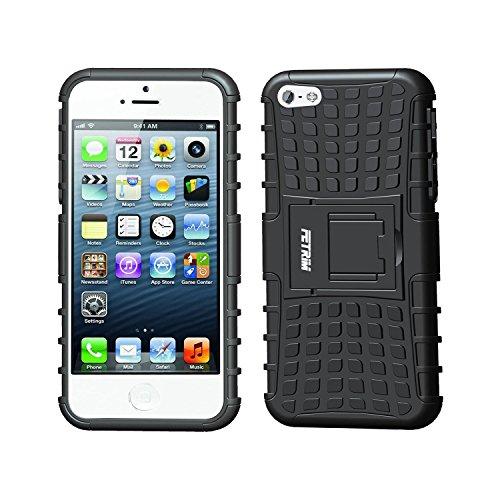 Fetrim Custodia iPhone 5S, cover supporto anti Case, TPU Plastica Bumper Rugged armatura ultra protezione Copertura Cassa Shell Caso per iPhone 5/5S/Se - nero