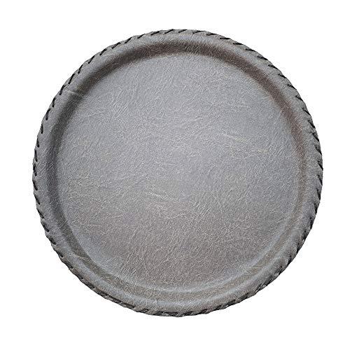 Anti Slip Leather Round Tray Handmade Serving Tray Decorative Vanity Tray Platter for Serving Breakfast Coffee Table Tea Dessert Handle Dinner Kitchen Perfume Jewelry Bed Bar Key Organizer Beige