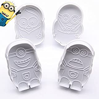 Anyana 4pcs/set Cartoon Mould Despicable Me Minion Cookie Cutter Plunger Fondant Wedding Cake Decorating Tools DIY Cake Mold