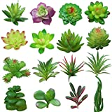 Yuccer Succulente Piante Artificiali, 16 Pezzi Mini Piante Grasse Artificiali Set Piante Finte per Giardino Scrivania Cucina Esterno (B)