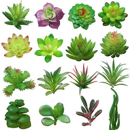Yuccer Künstliche Sukkulenten, 16 Stück Künstliche Pflanze Klein Deko Pflanze zum Fensterbank Wohnzimmer Balkon Büro Plastikpflanzen (B)
