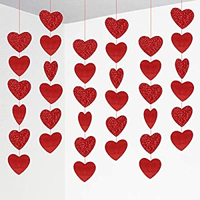 Amazon - Save 50%: Red Heart Felt Garland,12 Strings of Heart Ornaments for Home Indoor Outdoor…