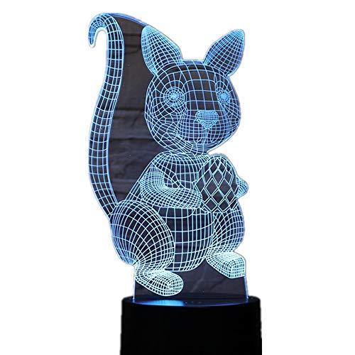 KangYD 3D Nachtlicht Eichhörnchen, LED Optische Täuschung Lampe, Home Decor Licht, USB Powered, Basteln, Kindergeschenk,6 - Bluetooth Audio Base (5 Farben)