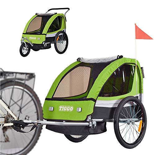 Tiggo Kinderfahrradanhänger Fahrradanhänger Jogger 2in1 Anhänger Kinderanhänger BT504-D02 Grün