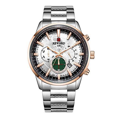 Relojes para Hombre Cronógrafo Acero Inoxidable 30M Impermeable Moda Deportes Crono Cuero Reloj para Hombre -E