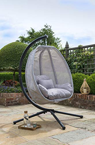 Grey Cocoon Hanging Egg Chair Swing Textilene Garden Furniture In Or Outdoor