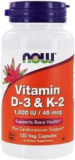 Now Foods, Vitamin D-3 & K-2, 1,000 IU / 45 mcg, 120 Veg Capsules