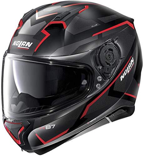 Nolan N87 Plus Overland n-com Flat Black/Red - Casco de moto