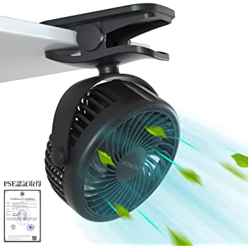 VENKIM 充電クリップ式卓上扇風機 携帯 ミニ 静音 720°角度調整 2000mAh ベビーカー8時間連続使用 (ブラック)