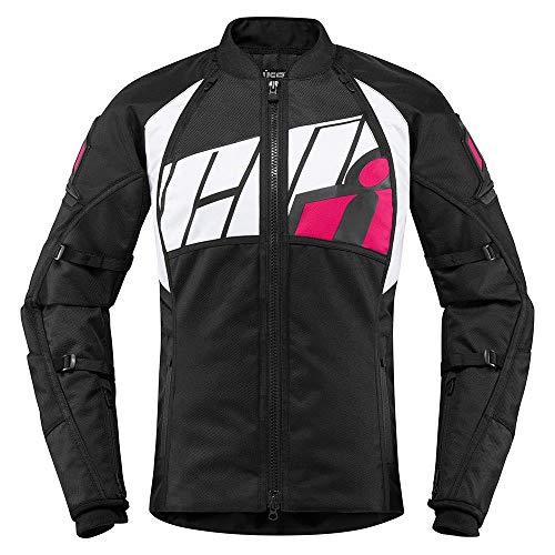 Icon Automag2 Damen Motorrad Jacke pink schwarz Gr��e: 2XL