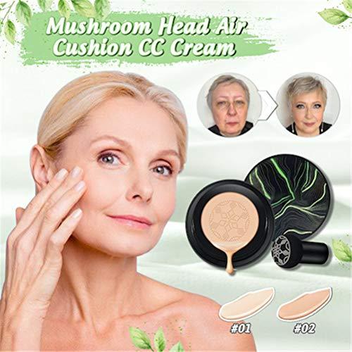 Base de colchón de aire impermeable sin imperfecciones, base de cabeza de seta en crema con colchón de aire, cobertura total de base de maquillaje, base de maquillaje de tono (Natural)
