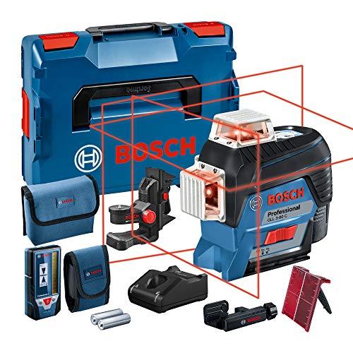 Bosch Professional 0601063R05 Nivel Láser de Líneas Autonivelantes Gll 3-80, 36 W, 12 V, Set de 4 Piezas