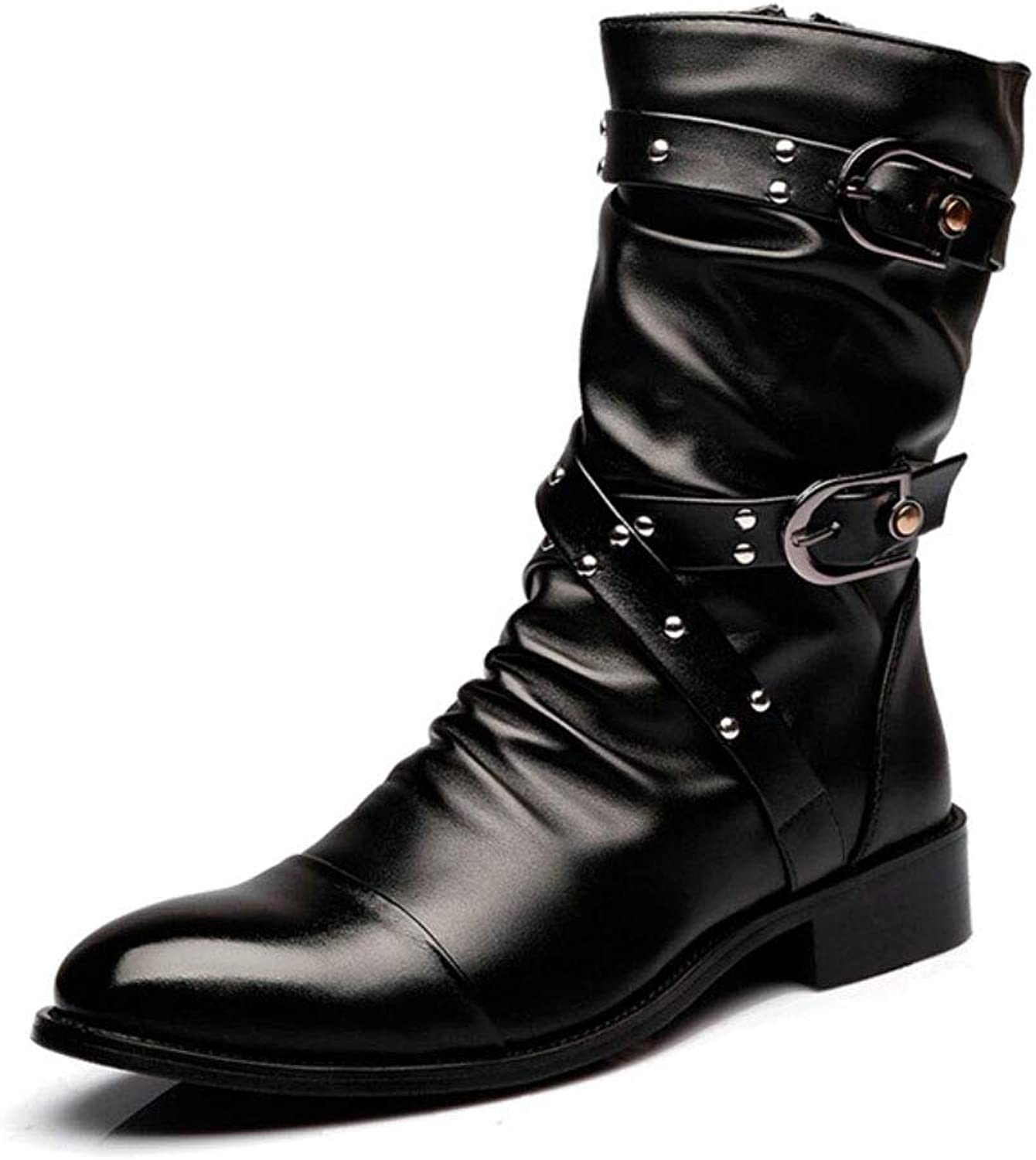 XUE Men's Leather Rivetboots Martin Boots Driving shoes Platform shoes Comfortable Sparkling Glitter Studded shoes personality   Party & Evening Night Club Stage