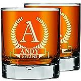 Set di 2 Bicchieri da Whisky Personalizzati Incisi, Bicchieri da Whisky da 270 ml