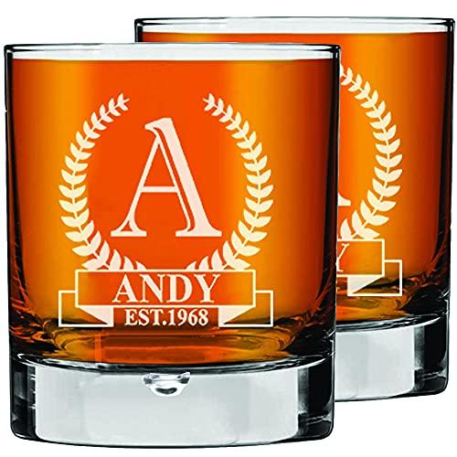 2 Stk. Whiskey Gläser mit Gravur, Barware Glaswaren Whiskey Tumbler, 270ml