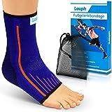 LAUPH Premium Sprunggelenkbandage - Fußbandage aus atmungsaktivem und strapazierfähigem Material - Anpassungsfähige bequeme Bandage für das Fußgelenk- Inklusive E-Book mit Übungen - L