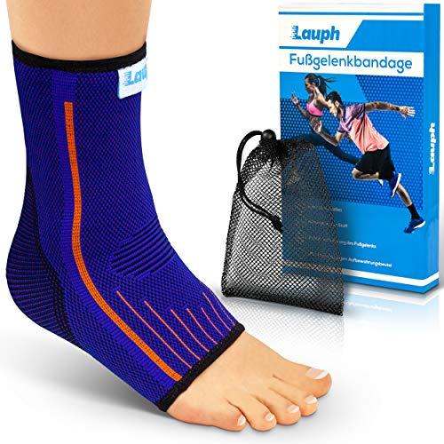 LAUPH Premium Sprunggelenkbandage - Fußbandage aus atmungsaktivem und strapazierfähigem Material - Anpassungsfähige bequeme Bandage für das Fußgelenk- Inklusive E-Book mit Übungen - M