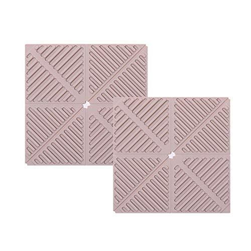 2 alfombrillas de silicona a prueba de calor, antideslizantes, plegables, multiusos, para almohadillas calientes, reposavasos, cocinar y cenar, aptas para lavavajillas, resistente al agua, color rosa