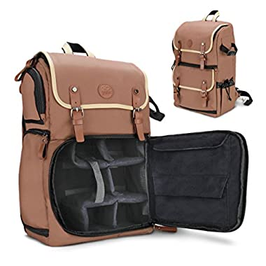 GOgroove Full-size DSLR Camera Backpack Case (Tan) for Photography and Laptop Travel Use w/Accessory Storage, Tripod Holder & Weatherproof Rain Cover for Sony a6000, Canon EOS T6, Nikon D5500