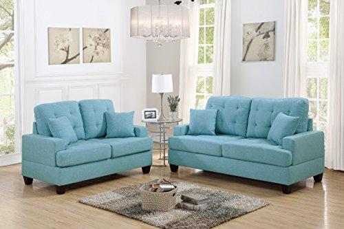 Esofastore 2pcs Sofa Set Bobkona Living Room Sofa and Love-seat Blue Grey Polyfiber Couch Wooden Legs Pillows Cushion Back Seat