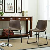 FurnitureMaxx Lotusville Vintage PU Leather Dining Chairs, Antique Brown, Set of 2