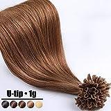 Extension Cheveux Naturel Keratine 1G Pose à Chaud 50 Mèches - 100% Vrai Cheveux Humain Rajout 16 Pouce(40CM) - #06 Marron clair