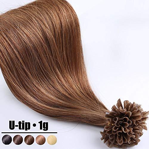 Extension Capelli Veri Cheratina Ciocche 1 Grammo/Ciocca Pre Bonded U Tip Allungamento 100% Remy Human Hair - 40cm 50g #6 Castano