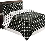 Royal Hotel Black and White Bloomingdale 3-PC Full/Queen Duvet Cover Set, 100% Cotton 300 TC