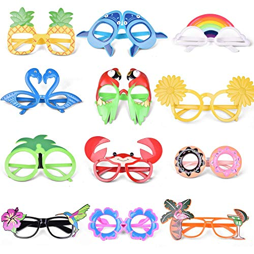 FUN LITTLE TOYS 12 PCs Luau Party Glasses, Hawaiian Funny Glasses for Summer Party Supplies, Kids...