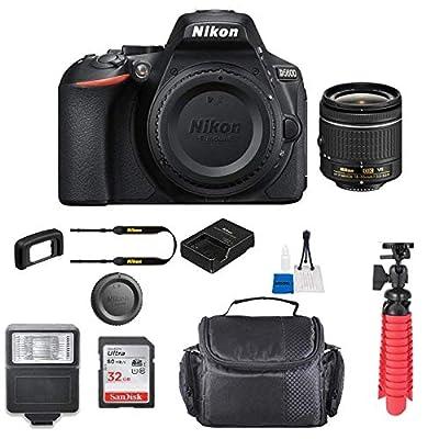 Nikon D5600 w/AF-P DX NIKKOR 18-55mm f/3.5-5.6G VR + Case + 32GB SD Card (International Model) by Nikon intl