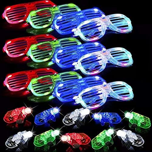 40 Pack LED Glasses Finger Lights Light up Party Favors, 6Color Light Up Shutter Shades Glasses Led...