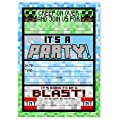 Pixel Party LARGE Invitations - 12 Invitations + 12 Envelopes - Made in the USA Brights
