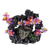 Balacoo Acuario Montaña Peces Tanque Montaña Vista Piedra con Flor Rocosa Estatua Budista Piedra Micro Paisaje Ornamentos para DIY Acuario Suministros