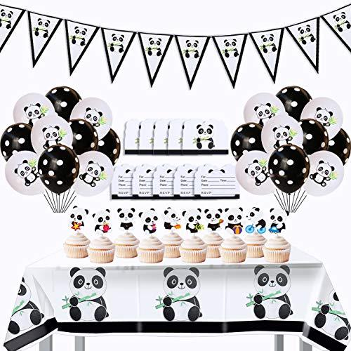 YuChiSX Panda Party Dekorationen, Partydekorationen Luftballons Zubehör Geburtstag Dekoration, Panda Ballon Pull Flag Anzug, Kindergeburtstag Deko Panda Geburtstag Dekoration Set für Jungen Mädchen
