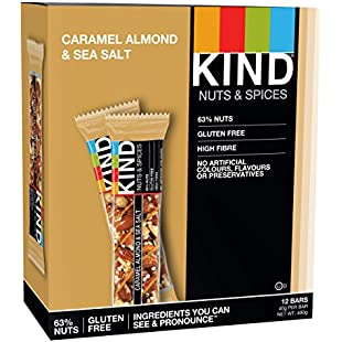 KIND Caramel Almond & Sea Salt - Gluten Free - Healthy Snack Bar - 12x 40g bar