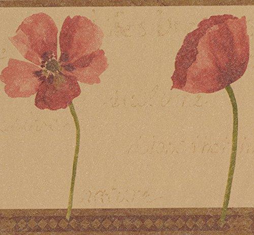 Rot Blumen Vintage Extra Breit Tapeten Bordüre Retro Design, Rolle 15'x 26cm