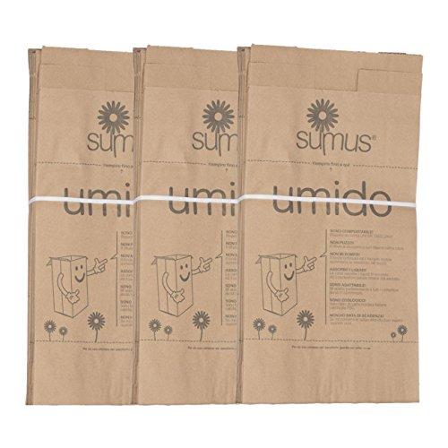 3 confezioni di Sacchetti di carta per umido e organico biodegradabili e compostabili (30 X 20) - 8 litri - 150 sacchetti Bio